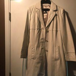 Jackets & Blazers - Winter white leather coat size large